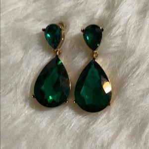 Aldo emerald and gold teardrop earrings